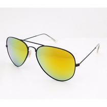 Óculos Ray Ban Aviador Preto Espelhado Amarelo 1ª Linha