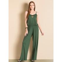 Macacão Pantalona Verde Militar Sem Manga Alcinha Calça
