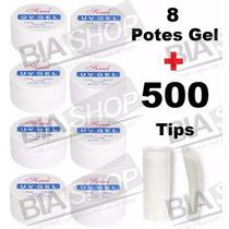 8 Potes Uv Clear Transparente Gel + 500 Tips Sorriso Natural