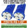 Par Lâmpadas Pingo 4 Leds Azul Farolete Xenon Torpedo T10