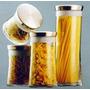 Potes Para Mantimentos De Vidro 4 Peças Com Tampa Aluminio