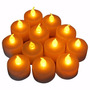 Kit 24 Velas Decorativas Led Amarelo Bateria Inclusa Brinde