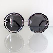 Óculos De Sol Feminino Grande Oversized Redondo Preto