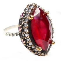 Hhy-anel Turquia Turco Prata 925 Cristal Rubi Zirconias Fret