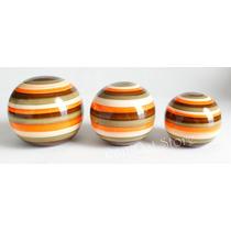 Trio De Bolas Em Cerâmica Decoração Mesa Sala Cozinha