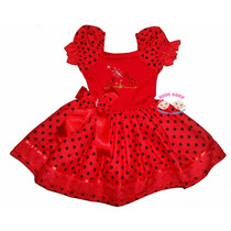 Vestido Festa Joaninha Collant 1 A 4 Anos