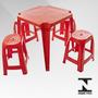 Jogo De Mesa Com 4 Banquetas De Plástico Roma Vermelho