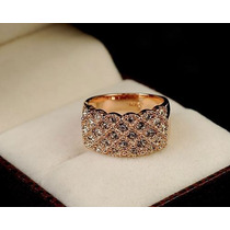 Anel Pandora Barato Banhado Ouro Rose 18k Cristais Swarovski