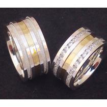 Par Alianças Compromisso 10mm Prata 950 Ouro 18k 60 Pedras