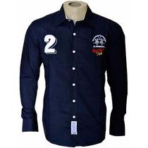 Camisa Social La Martina Azul Marinho Nº02