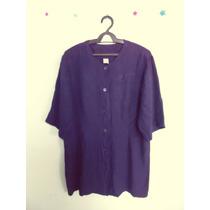Camisa Feminina Azul-marinho Mangas Cód. 382