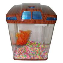Mini Aquario Em Acrilico Peixe Bomba Led Sensor Iluminacao