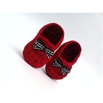 A 99 Sapatinho Croche Masculino Vermelho Lacinho Bebe Menino