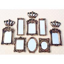 Kit Coroa + 8 Mini Espelhos Ouro Velho