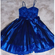 Vestido Rodado Renda E Cetim Com Bojo-azul Bic