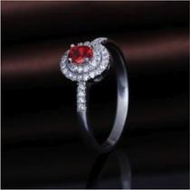 Anel Solitario Prata 925 Pedra Vermelha E Pontos Em Zirconia