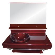 Gabinete De Vidro Vermelho P/banheiro - Com Espelho - 90cm