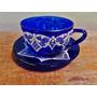 Par Antiga Xícara De Chá Cristal Azul Cobalto Renda Branca