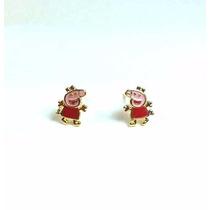 Brincos Folheados Ouro 18k Peppa Pig - Aintialérgico