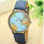 Relógio De Pulso Unissex Com Mapa Mundi Quartzo Mundo Antigo