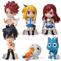Bonecos Fairy Tail Kit 6 Lucy Natsu Happy Erza Gray Plue