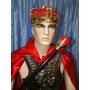 Fantasia Adulto Coroa Rei Capa Vermelha Armadura Cetro