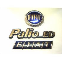 Kit Emblemas Palio Ed + Redondo Azul Capo E Mala 96/99 - Bre