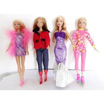Lote 4 Boneca Barbie P/ Coleção Pluma Botas Patins Jeans
