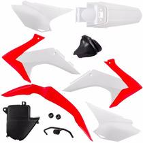 Kit Plástico Crf 230 - Xr150 Nx 200 250 Roupa Branco E Ver.