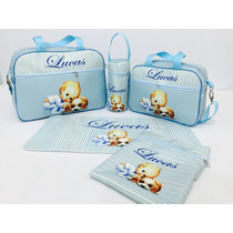Kit Bolsa De Bebe Maternidade Personalizada! 5 Pçs Promoção!