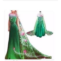 Vestido Frozen Fever Princesa Elsa Anna Disney Longo Luxo