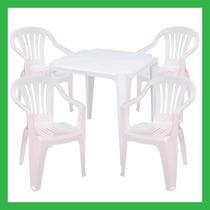 Conjunto Jogo 1 Mesa 4 Cadeiras Poltrona Plástico Bela Vista