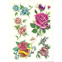 Kit Com 48 Tatuagem Temporária Borboleta E Flores - Novo
