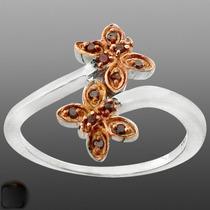 Diamantes Vermelhos Naturais No Anel De Prata 925- Aro 18