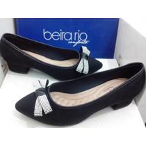 Sapato Feminino Sapatilha Beira Rio Camurça Conforto Preto