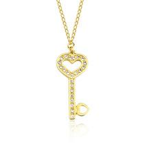 Colar Semijoia Folheado Ouro 18k Chave Coração Zircônias