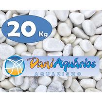 20 Kg Seixo Branco, Pedras Para Jardins, Decoração, Aquário