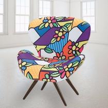Cadeira Decorativa Sala Estilo Romero Britto Pes Palito Swan