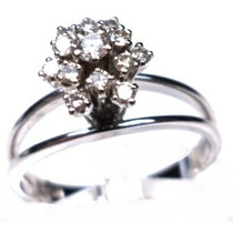 Lsj-anel Chuveiro Ouro Branco 18k 13 Brilhantes