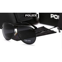 Óculos De Sol Aviador Polarizado Police Preto 100% Uva E Uvb