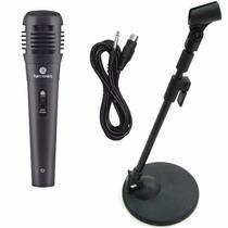 Microfone P/ Computador + Mini Pedestal De Mesa + Cabo P10