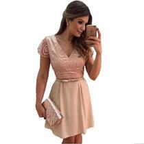 Vestido Feminino Rosa Estilo Menina/moça Frete Fixo