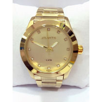 Relógio Feminino Original Atlantis Dourado (pronta Entrega)