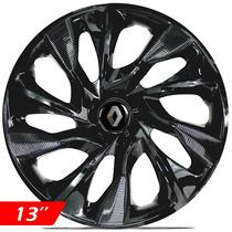 Calota Jogo Aro 13 Black Esportiva Ds4 Renault Clio 2014 4pç