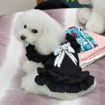Roupa Para Cão Vestido Preto Com Laco De Paetê M