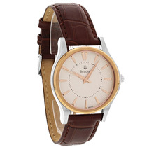 Bulova Mens Leather Brown Relógio 98a119