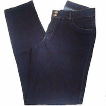 Calça Jeans (elastano) Fem. Escura Com Detalhes Em Dourado