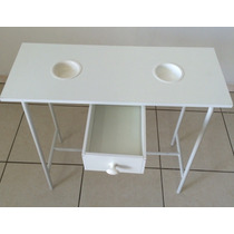 Mesa Para Manicure Branca Desmontavel + Brinde