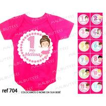 Kit 12 Body Infantil Mês A Mês Mesversario Bailarinas Cute