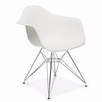 Cadeira Charles Eames Eiffel Com Braços - Base Metal Cromado